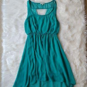 Charlotte Russe teal high low sheer dress
